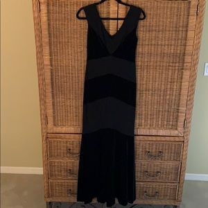 Black on black chevron crepe & velvet dress